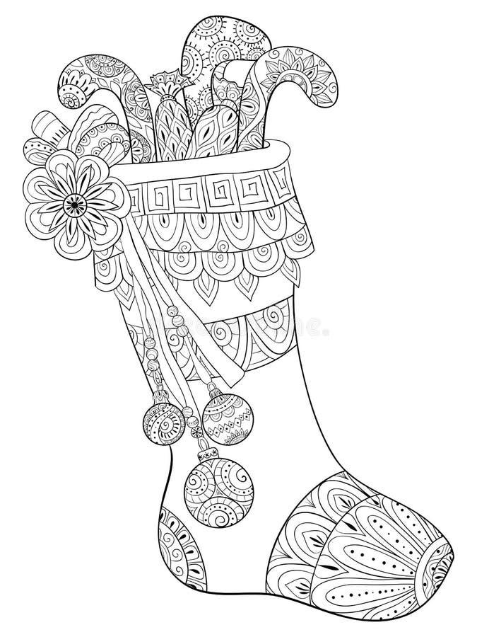 El libro de colorear adulto, pagina un zapato de la Navidad con los regalos con los ornamentos de la decoración para relajarse Ze stock de ilustración