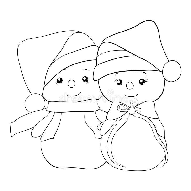 El libro de colorear adulto, pagina una imagen del tema de la Navidad con un par de muñecos de nieve ilustración del vector