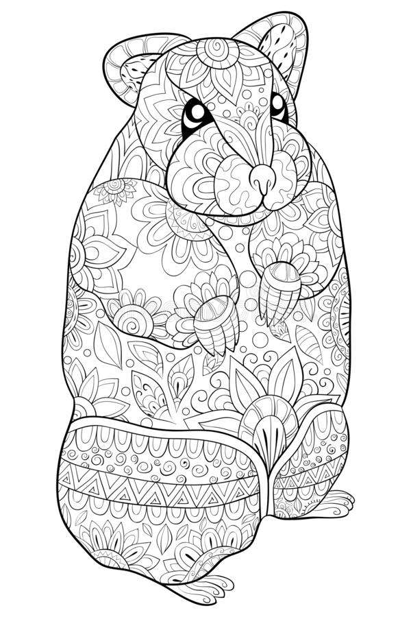 El libro de colorear adulto, pagina una imagen linda del hámster para relajarse ilustración del vector
