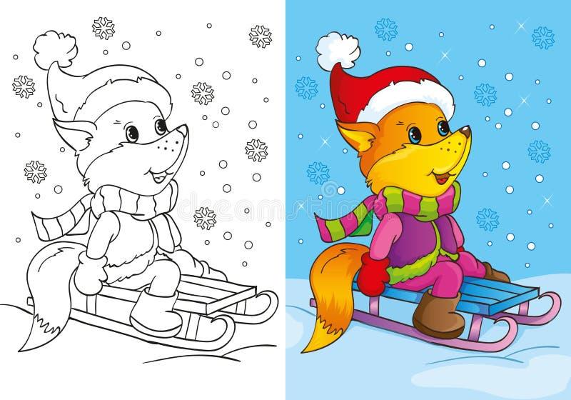 El libro de colorear del Fox lindo se sienta en el trineo stock de ilustración