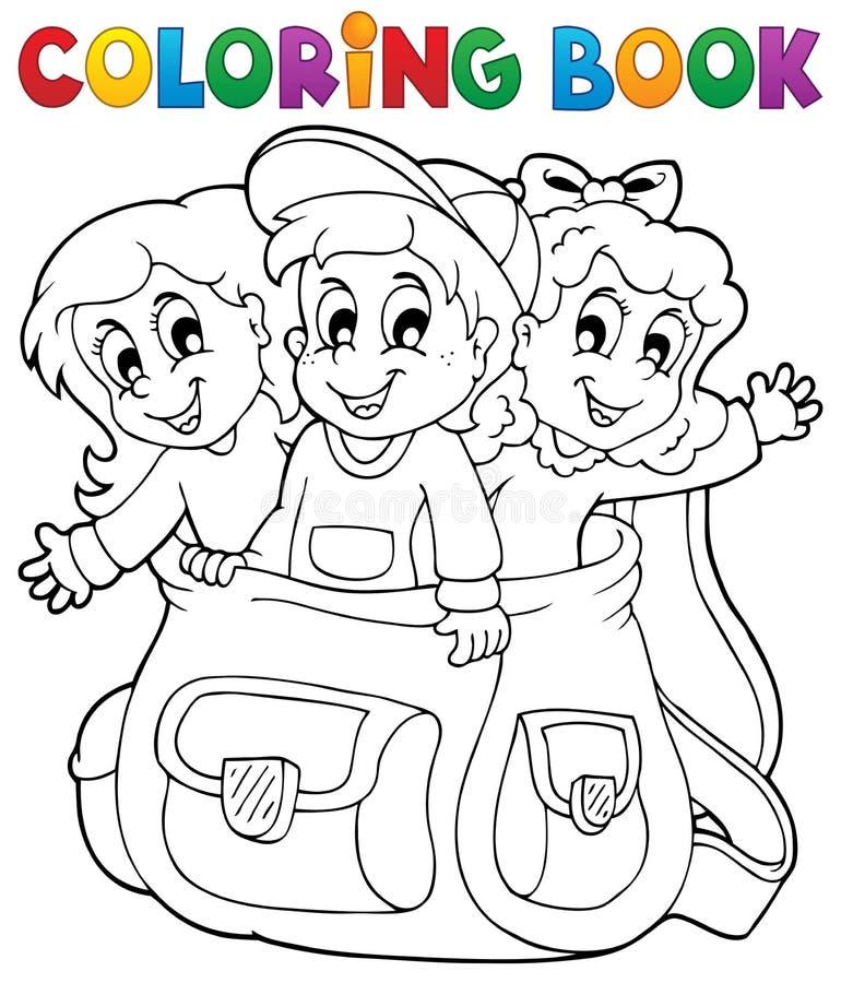 El libro de colorear embroma el tema 6 stock de ilustración