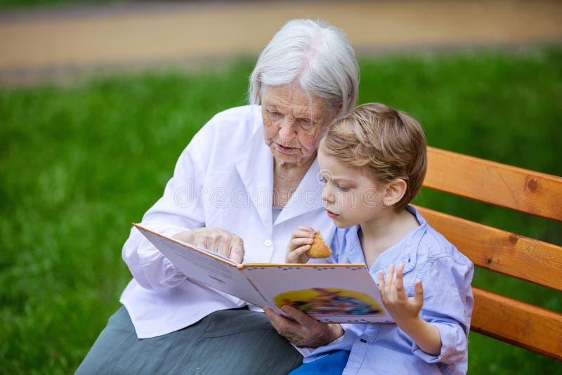 El libro de lectura joven del muchacho y de la bisabuela en verano parquea fotografía de archivo libre de regalías