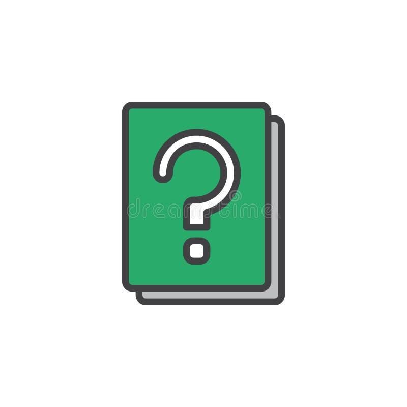El libro del signo de interrogación llenó el icono del esquema, línea muestra del vector, pictograma colorido linear ilustración del vector