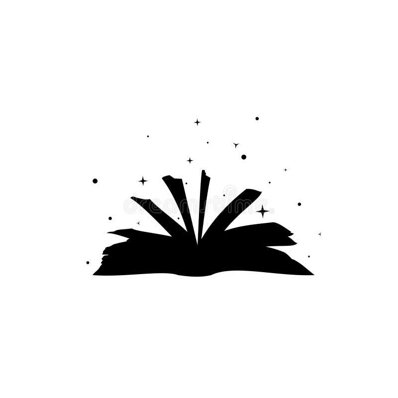 El libro mágico de la bruja con encantos rodeado por vector de las estrellas, helloween el símbolo, libro malvado, logotipo de la fotografía de archivo libre de regalías