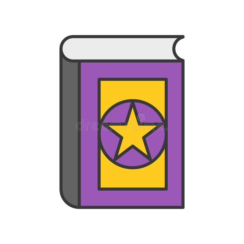 El libro mágico, Halloween relacionó el icono, stro editable del diseño del esquema stock de ilustración