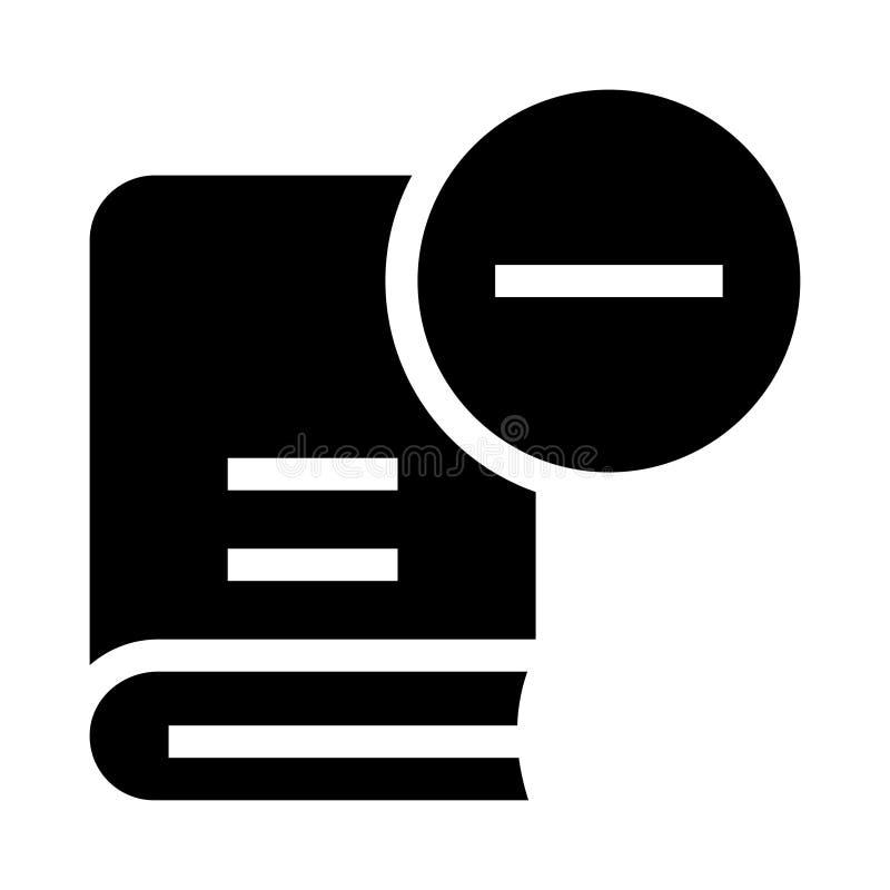 El libro quita el icono de los glyphs stock de ilustración