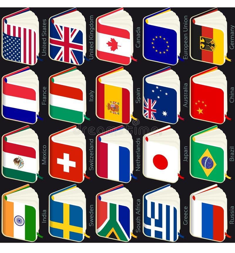 El libro señala popular por medio de una bandera stock de ilustración