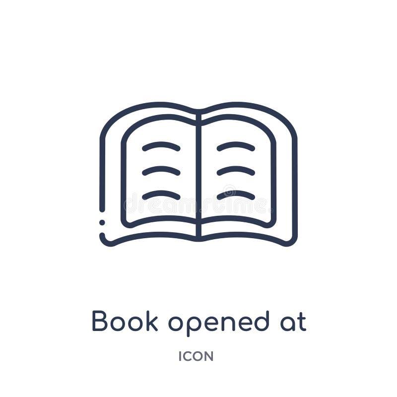 el libro se abrió en el icono de centro de la colección del esquema de la interfaz de usuario La línea fina libro se abrió en el  stock de ilustración