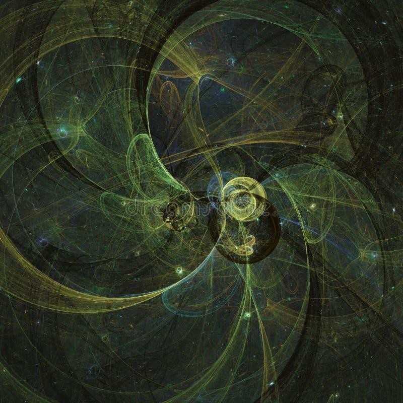 El ligh que brilla intensamente pone verde líneas curvadas de la energía sobre el universo abstracto oscuro del espacio del fondo ilustración del vector