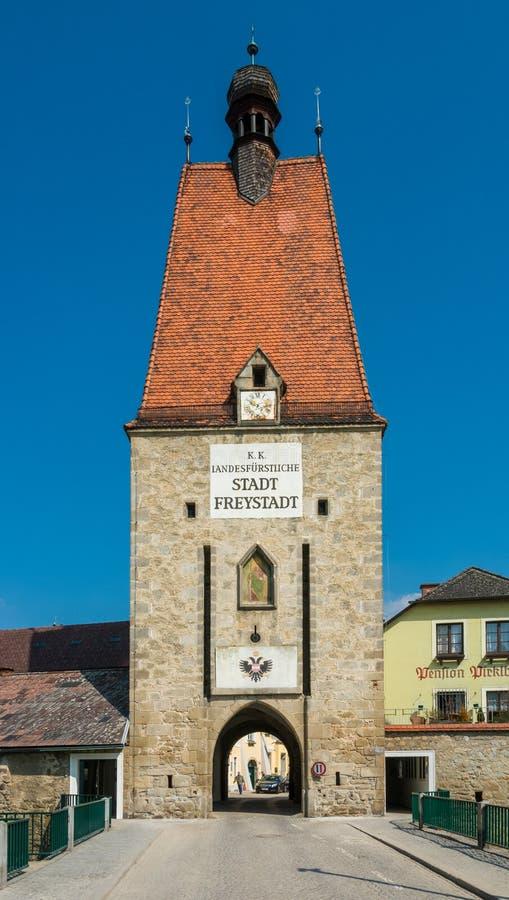 El Linzertor Una señal en Freistadt - Austria septentrional fotografía de archivo libre de regalías