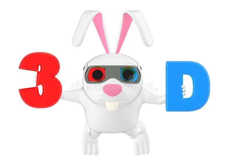 el llevar del conejo del carácter 3d gafas ciánicas rojas y llevar a cabo las letras 3D con color rojo y ciánico respectivamente stock de ilustración