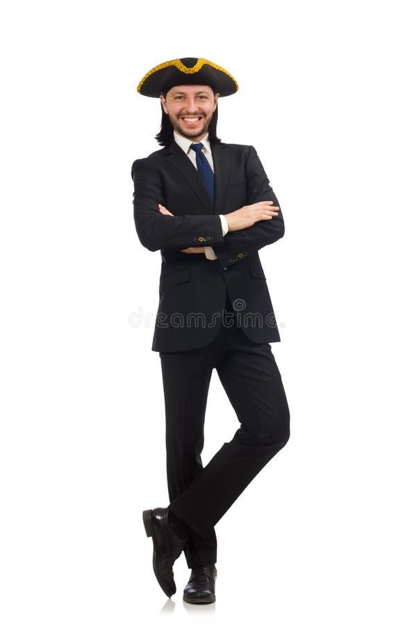 El llevar joven del hombre de negocios tricorne imagen de archivo libre de regalías