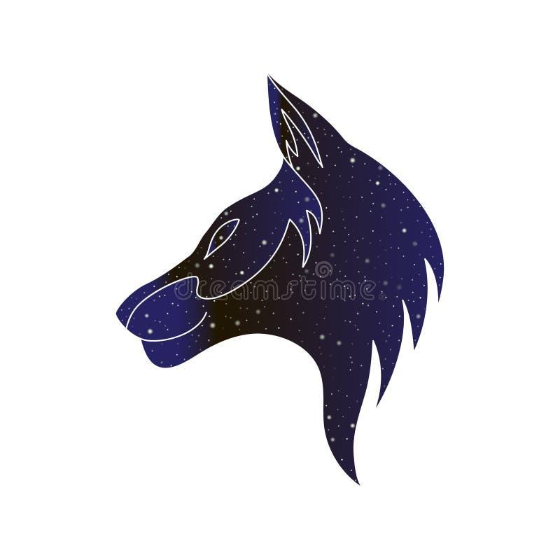 El lobo, el coyote o el perro estilizaron la cabeza Línea ejemplo animal canino, silueta del vector del color del cielo nocturno  ilustración del vector