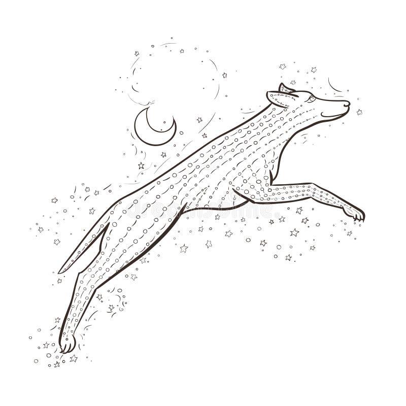 El lobo de Zentangle salta en el cielo nocturno del fondo Ejemplo del vector del Año Nuevo 2018 Perro del enredo del zen Libro de ilustración del vector