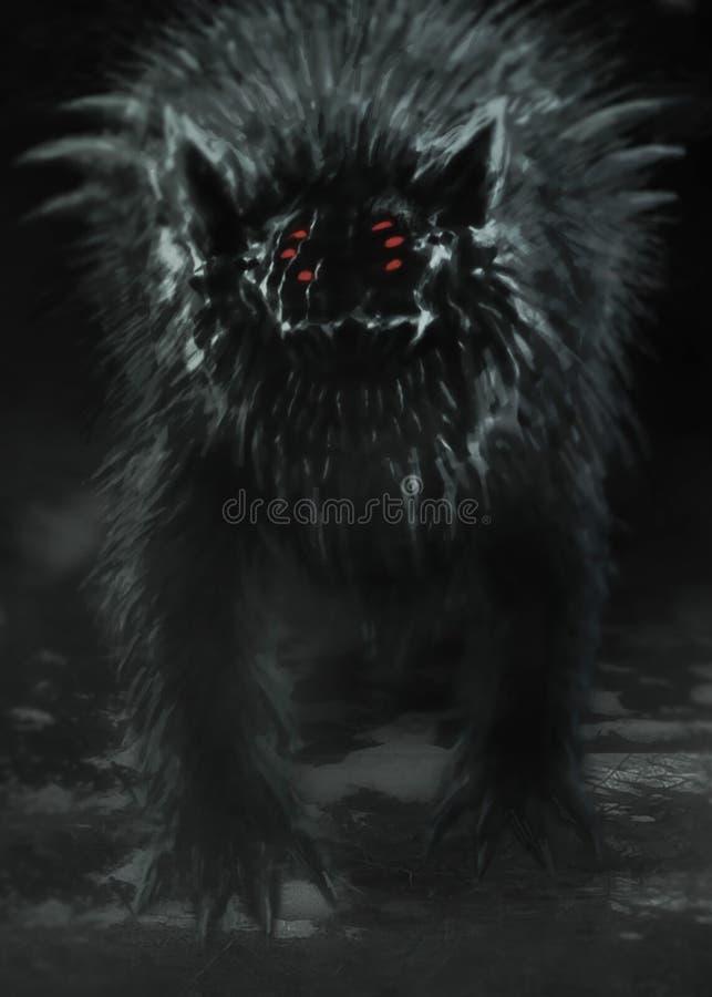 El lobo extranjero emerge de bosque oscuro y abre su boca libre illustration