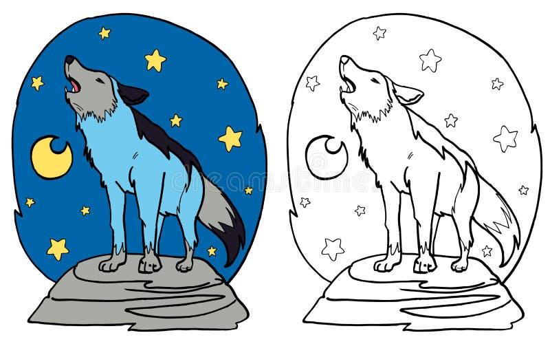 El lobo gris que grita en la luna fotos de archivo libres de regalías