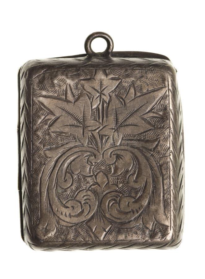 El locket de plata antiguo aisló foto de archivo libre de regalías