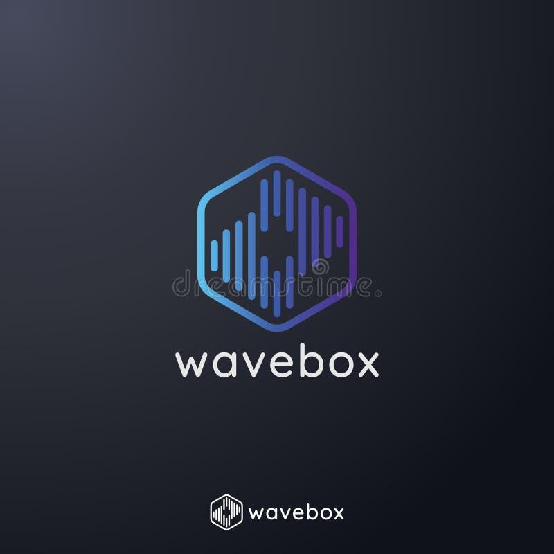 el logotipo abstracto del pulso de la onda de la señal audio para el negocio, apps radia, tecnología, o los datos ejemplo del vec stock de ilustración