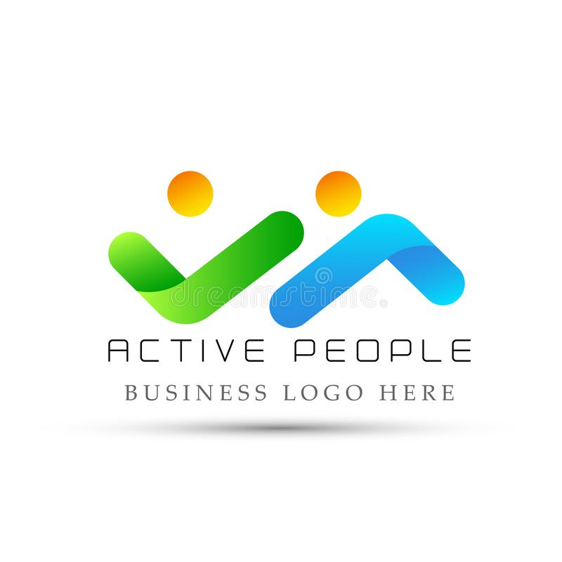El logotipo activo abstracto de la gente, éxito en corporativo invierte diseño del logotipo del negocio Logotipo de la inversión  stock de ilustración