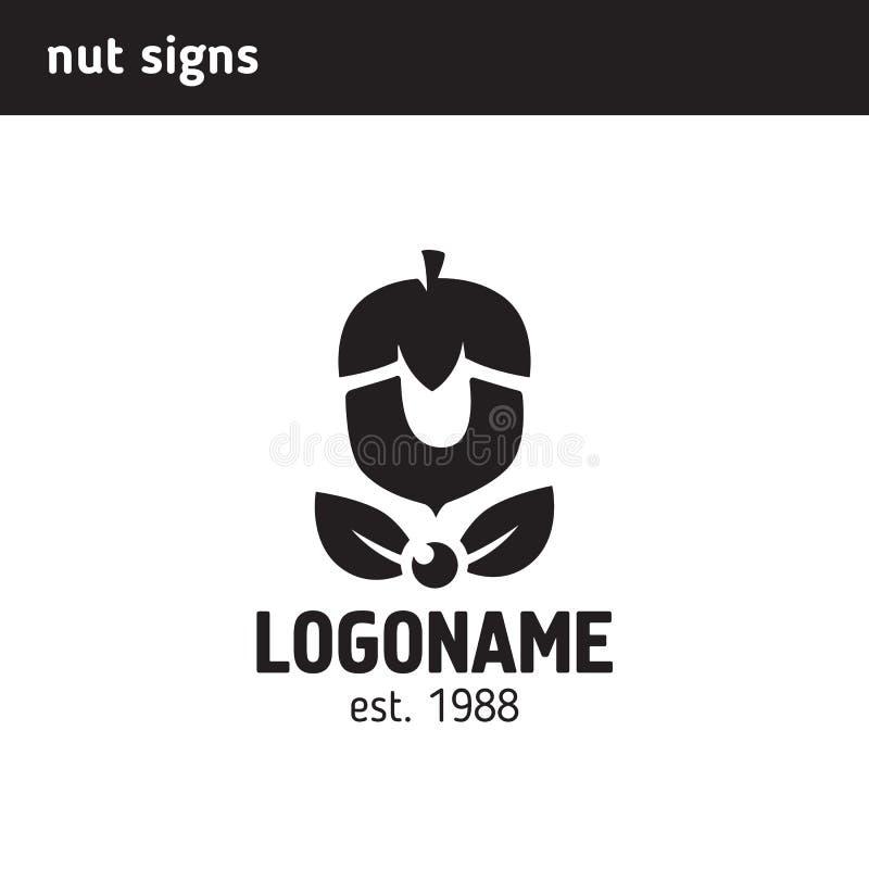 El logotipo bajo la forma de nuez stock de ilustración