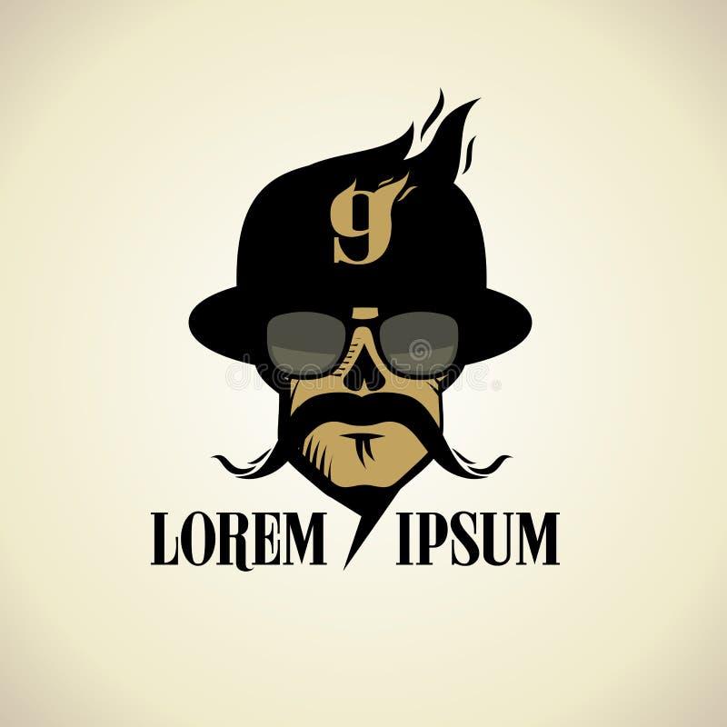 El logotipo con el cráneo moustached se vistió en sombrero y vidrios stock de ilustración
