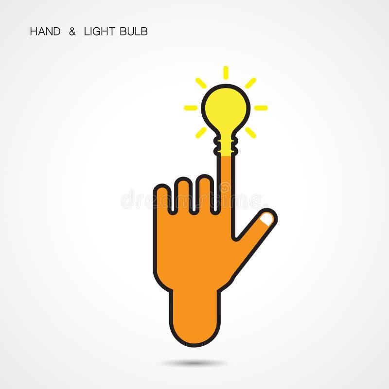 El logotipo creativo del extracto del icono de la bombilla y de la mano diseña stock de ilustración