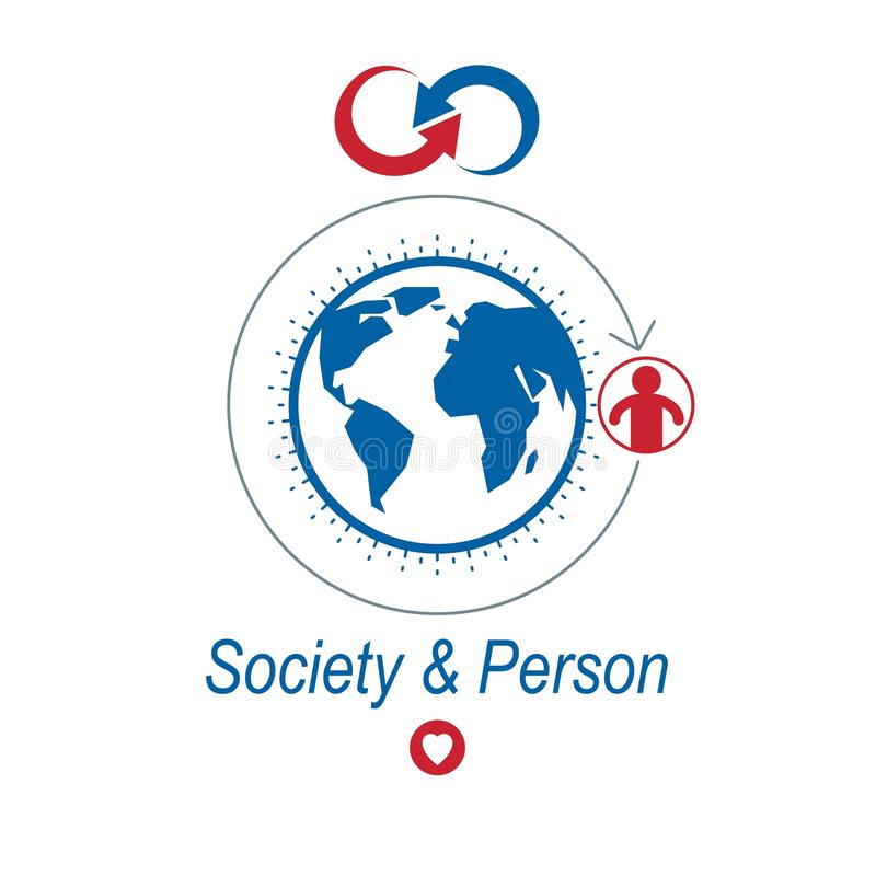 El logotipo creativo del mundo y de la persona, símbolo único creó ingenio stock de ilustración