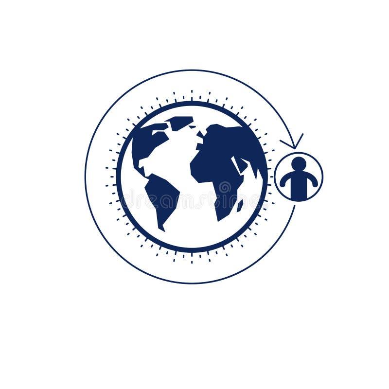 El logotipo creativo del mundo y de la persona, símbolo único del vector creó ingenio stock de ilustración