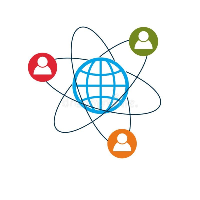 El logotipo creativo del mundo y de la persona, símbolo único del vector creó ingenio libre illustration