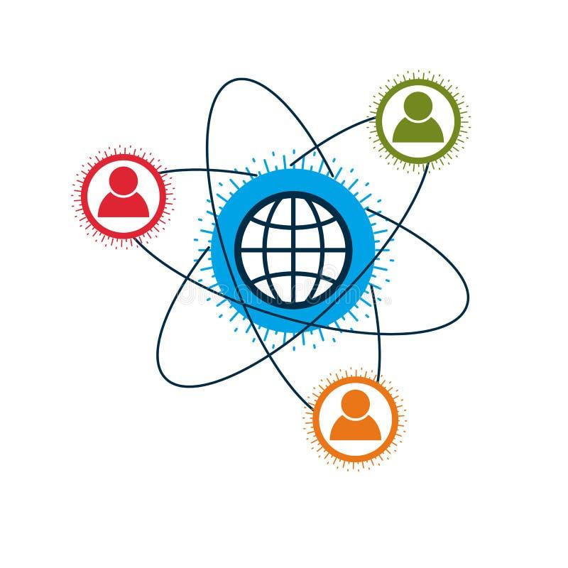 El logotipo creativo del mundo y de la persona, símbolo único del vector creó ingenio ilustración del vector
