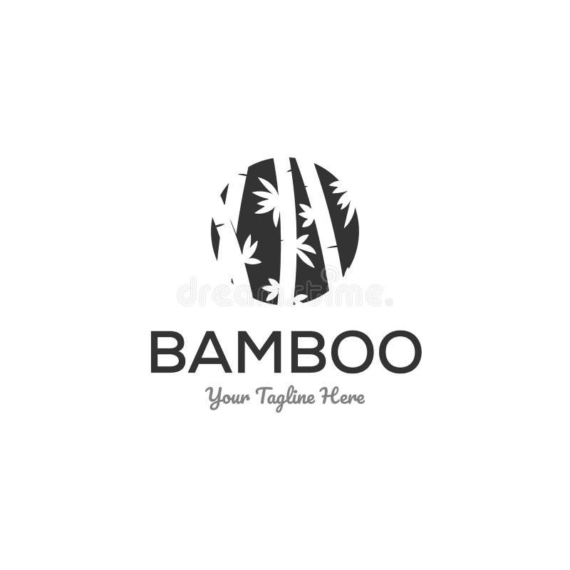 El logotipo de bambú diseña la inspiración en logotipo negativo del espacio ilustración del vector