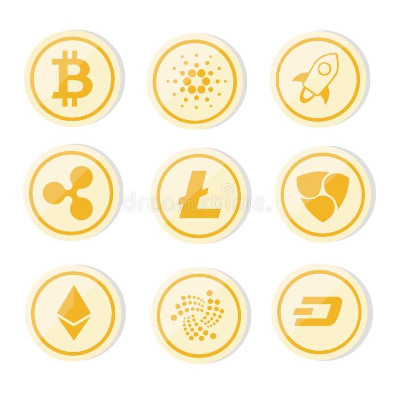El logotipo de Cryptocurrency fijó el bitcoin de la versión de la moneda de oro, litecoin, ethereum, ondulación, rociada, nem imagen de archivo