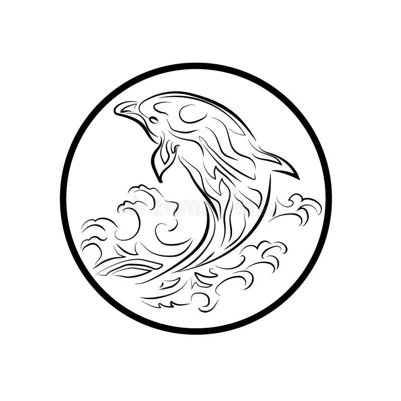 El logotipo de la ballena reduce el ejemplo del extracto del diseño de la historieta del icono de los símbolos de las muestras libre illustration