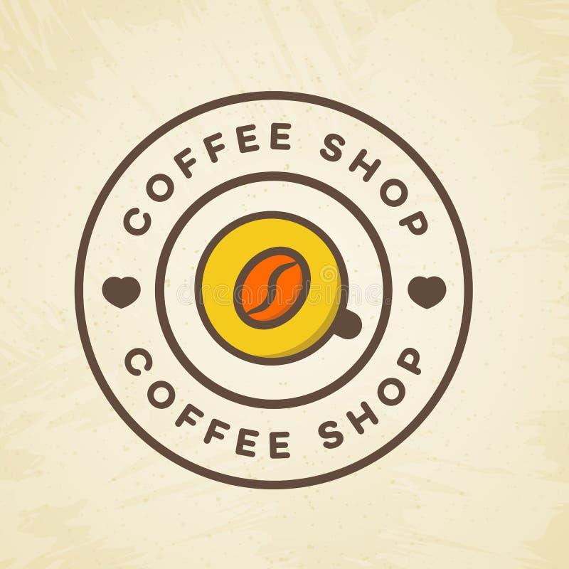 El logotipo de la cafetería con la taza de café y la haba colorean estilo en el fondo para el café, tienda libre illustration