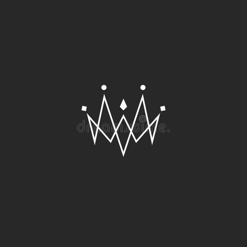 El logotipo de la corona de la joya del monograma, maqueta del emblema de la joyería, ligó las líneas estilo finas libre illustration