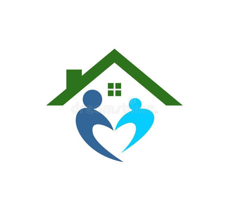 el logotipo de la educación del parenting del cuidado de niños y del vector de la adopción diseña stock de ilustración