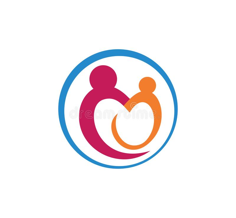el logotipo de la educación del parenting del cuidado de niños y del vector de la adopción diseña libre illustration