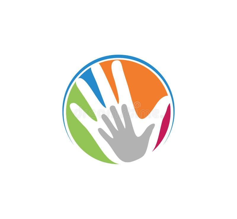 el logotipo de la educación del parenting del cuidado de niños y del vector de la adopción diseña ilustración del vector
