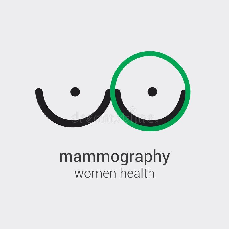 El logotipo de la mamografía prevendrá el aspecto del cáncer de pecho en primeros tiempos Diseño médico del vector Uso como bande libre illustration