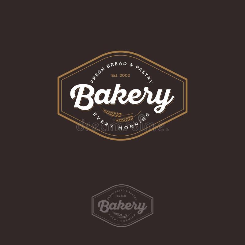 El logotipo de la panadería con la espiguilla Pan y emblema de la hornada Logotipo de la panadería del vintage libre illustration