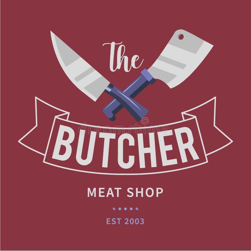 El logotipo de la tienda de la carne de matadero con los cuchillos de la cuchilla y de los cocineros, manda un SMS al carnicero,  ilustración del vector