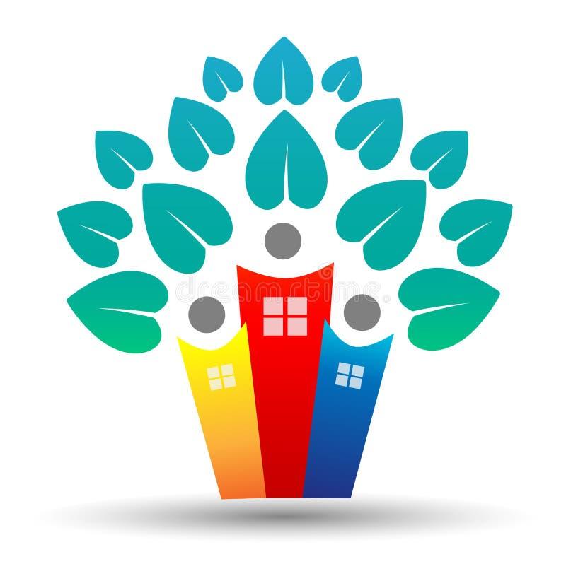 El logotipo del árbol de la familia, del hogar, de la vida y de las propiedades inmobiliarias diseña con las hojas en forma de co ilustración del vector