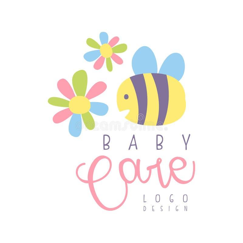El logotipo del cuidado del bebé, etiqueta para los niños aporrea, el bebé o los juguetes hace compras y cualquier otro vector di stock de ilustración