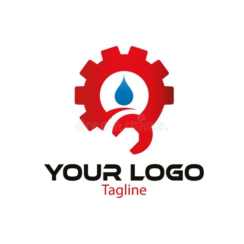 El logotipo del engranaje, de la llave y del agua diseña la plantilla ilustración del vector