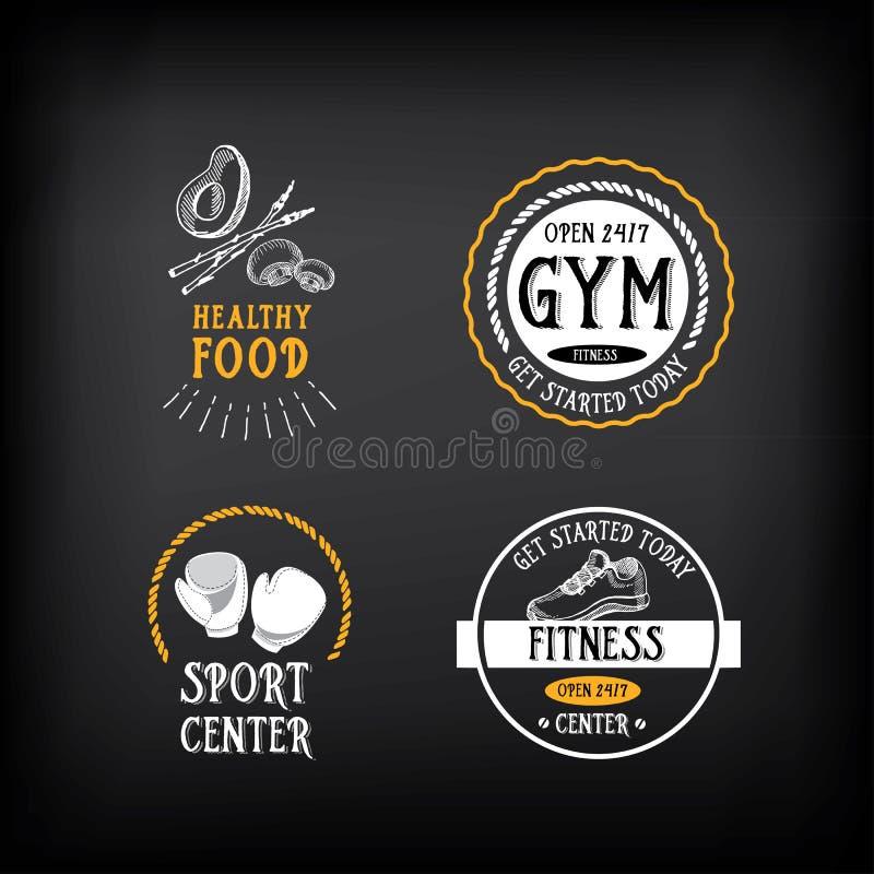 El logotipo del gimnasio y del club de fitness diseña, se divierte la insignia Vector con el gráfico libre illustration