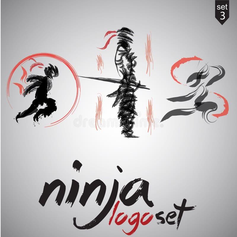 el logotipo del ninja fijó 3 ilustración del vector