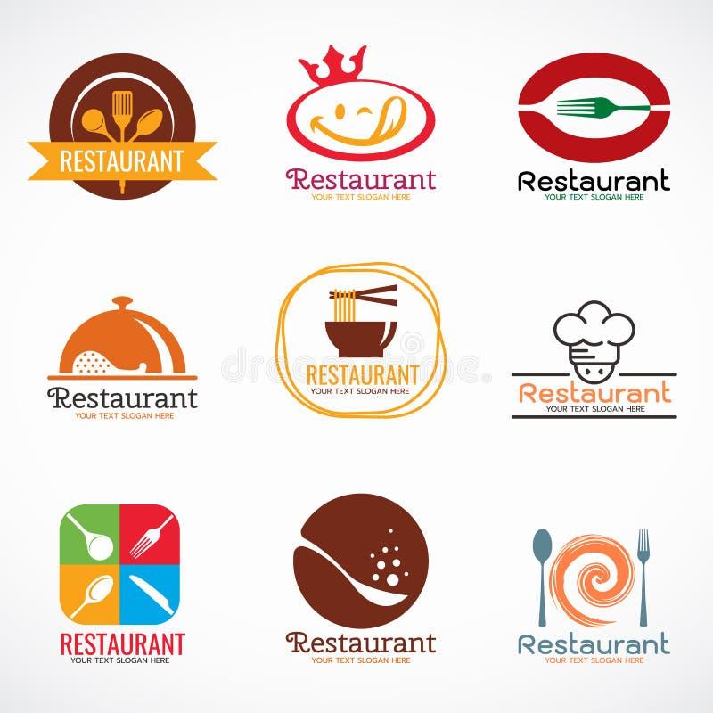 El logotipo del restaurante y el logotipo de la tienda de alimentos vector diseño determinado stock de ilustración