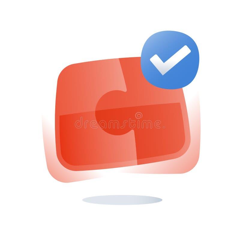 El logotipo del rompecabezas, soluciones simples, monta el rompecabezas, la combinación correcta, la cooperación y el compromiso, libre illustration