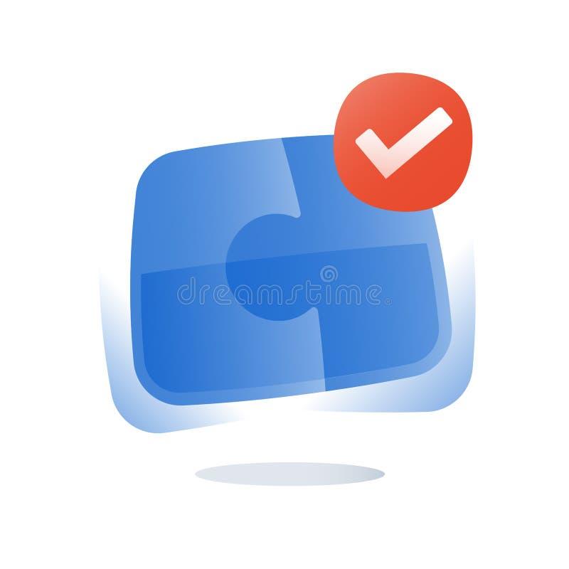 El logotipo del rompecabezas, soluciones simples, monta el rompecabezas, la combinación correcta, la cooperación y el compromiso, ilustración del vector