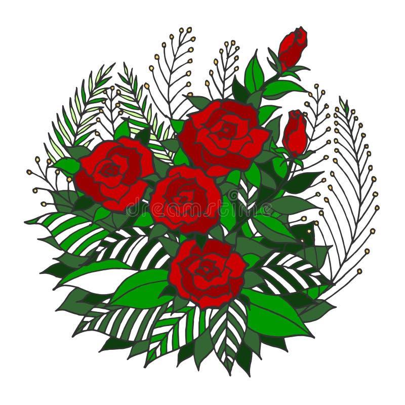 El logotipo del símbolo del icono de la mandala de Rose, florece la hoja floral, dibujo de la mano del vector stock de ilustración